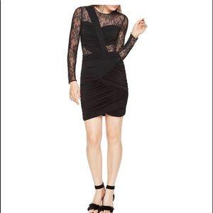 BCBGMAXAZRIA Black Richelle Sheer Lace  Dress